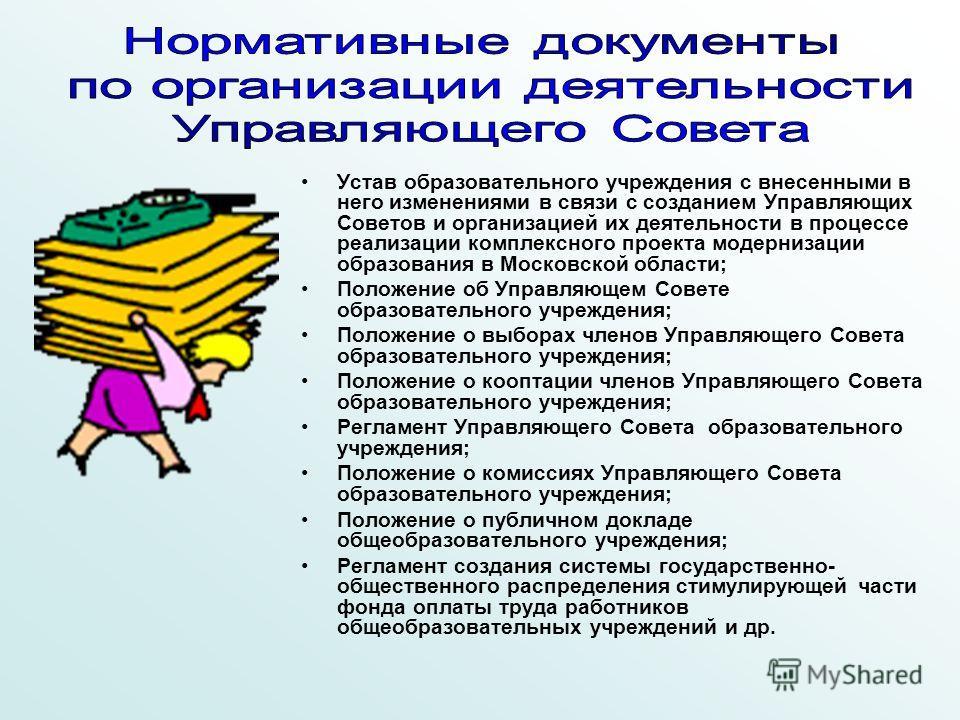 Устав образовательного учреждения с внесенными в него изменениями в связи с созданием Управляющих Советов и организацией их деятельности в процессе реализации комплексного проекта модернизации образования в Московской области; Положение об Управляюще