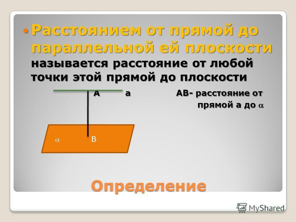 Определение Расстоянием от прямой до параллельной ей плоскости называется расстояние от любой точки этой прямой до плоскости Расстоянием от прямой до параллельной ей плоскости называется расстояние от любой точки этой прямой до плоскости А а АВ- расс