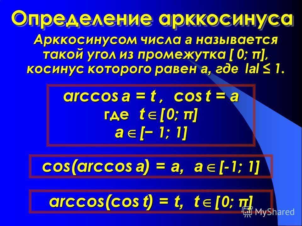 Определение арккосинуса Арккосинусом числа а называется такой угол из промежутка [ 0; π], косинус которого равен а, где l l l lаl 1. arccos a = t, cos t = a где t t t t [ 0; π] а [ 1; 1] cos(arccos a) = a, a [-1; 1] arccos(cos t) = t, t [ 0; π]