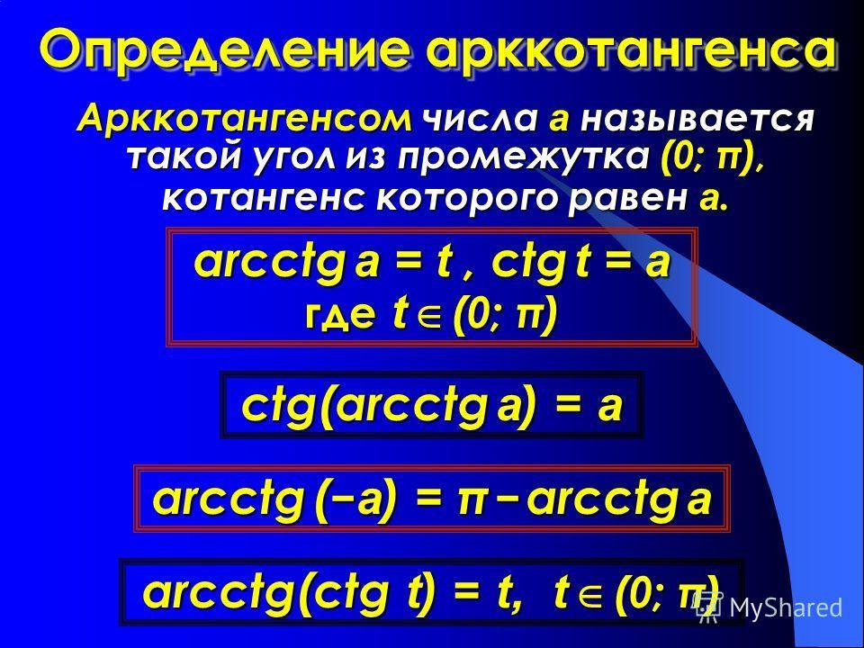 Определение арккотангенса Арккотангенсом числа а называется такой угол из промежутка (0; π), котангенс которого равен а. arcсtg a = t, сtg t = a где t (0; π) сtg(arсctg a) = a arcсtg(сtg t) = t, t (0; π) arсctg (a) = π arcсtg a