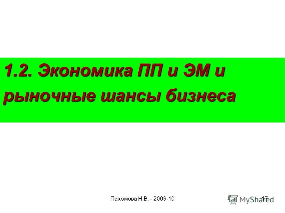 Пахомова Н.В. - 2009-1017 1.2. Экономика ПП и ЭМ и рыночные шансы бизнеса