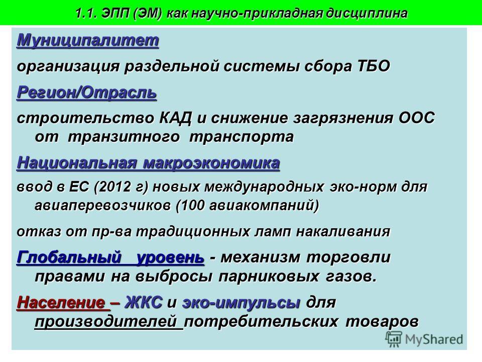 Пахомова Н.В. - 2009-108 Муниципалитет организация раздельной системы сбора ТБО Регион/Отрасль строительство КАД и снижение загрязнения ООС от транзитного транспорта Национальная макроэкономика ввод в ЕС (2012 г) новых международных эко-норм для авиа