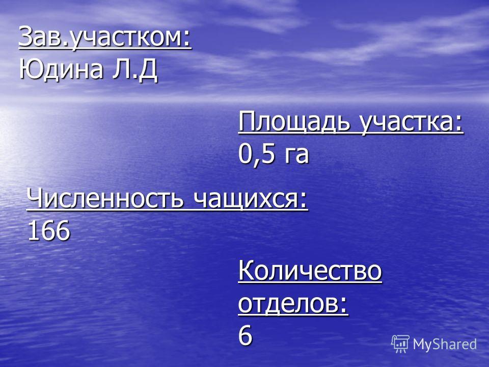 Зав.участком: Юдина Л.Д Площадь участка: 0,5 га Численность чащихся: 166 Количество отделов: 6