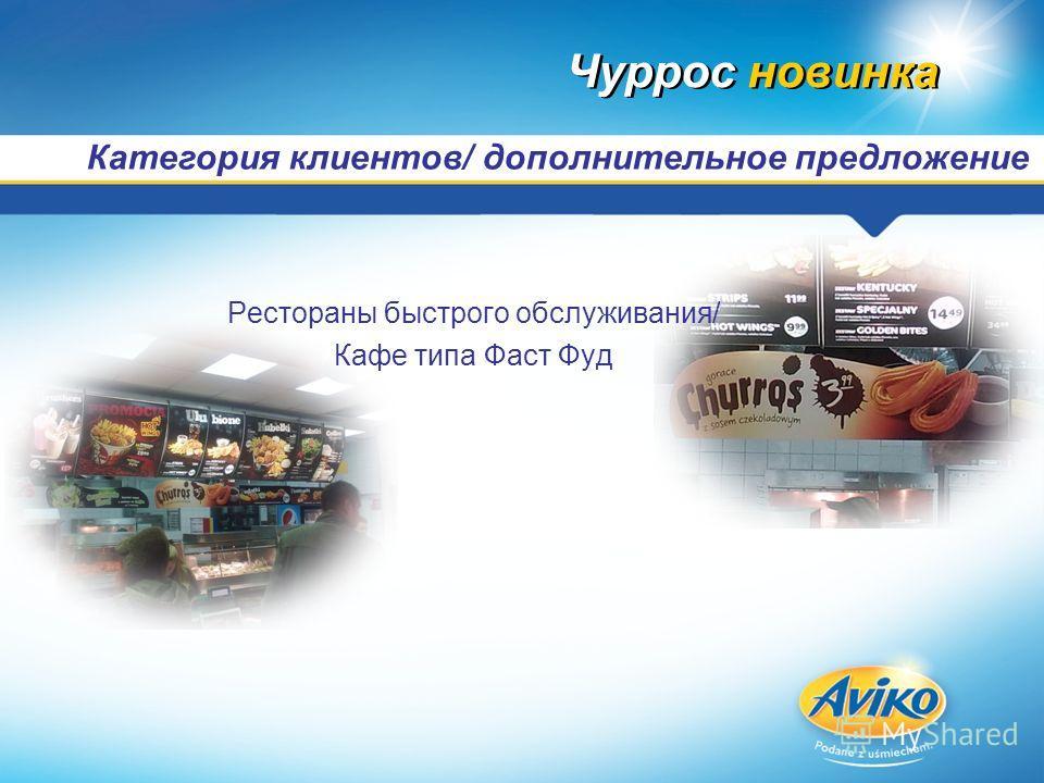Категория клиентов/ дополнительное предложение Чуррос новинка Рестораны быстрого обслуживания/ Кафе типа Фаст Фуд