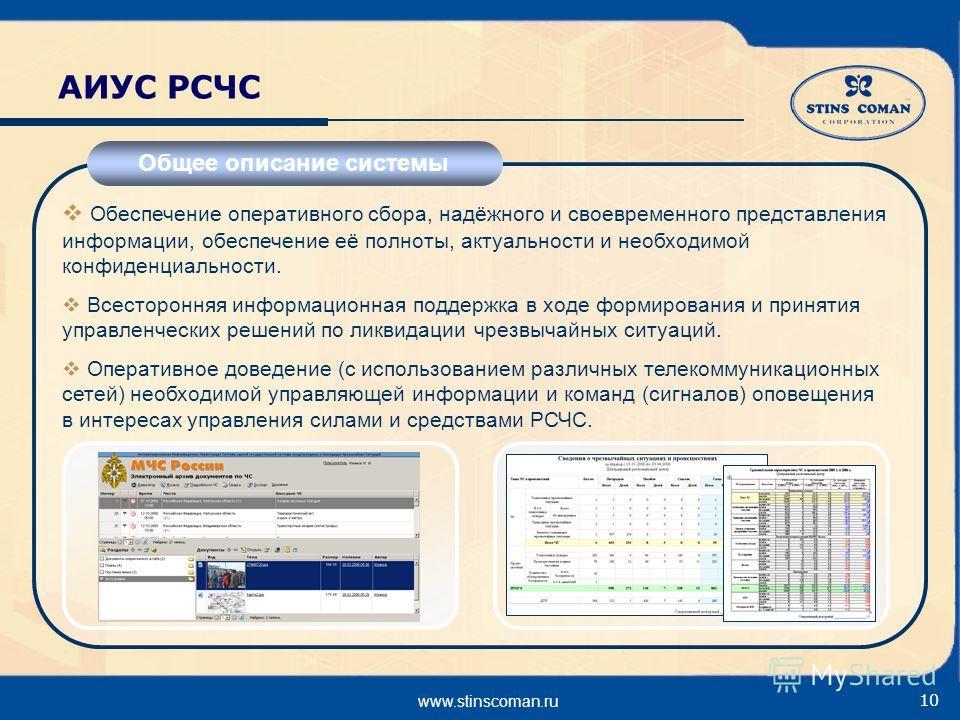 www.stinscoman.ru 10 АИУС РСЧС Общее описание системы Обеспечение оперативного сбора, надёжного и своевременного представления информации, обеспечение её полноты, актуальности и необходимой конфиденциальности. Всесторонняя информационная поддержка в
