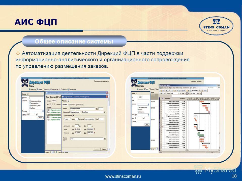 www.stinscoman.ru 18 АИС ФЦП Общее описание системы Автоматизация деятельности Дирекций ФЦП в части поддержки информационно-аналитического и организационного сопровождения по управлению размещения заказов.