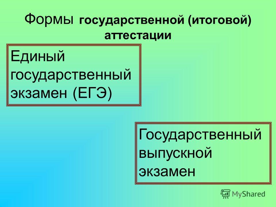 Формы государственной (итоговой) аттестации Единый государственный экзамен (ЕГЭ) Государственный выпускной экзамен