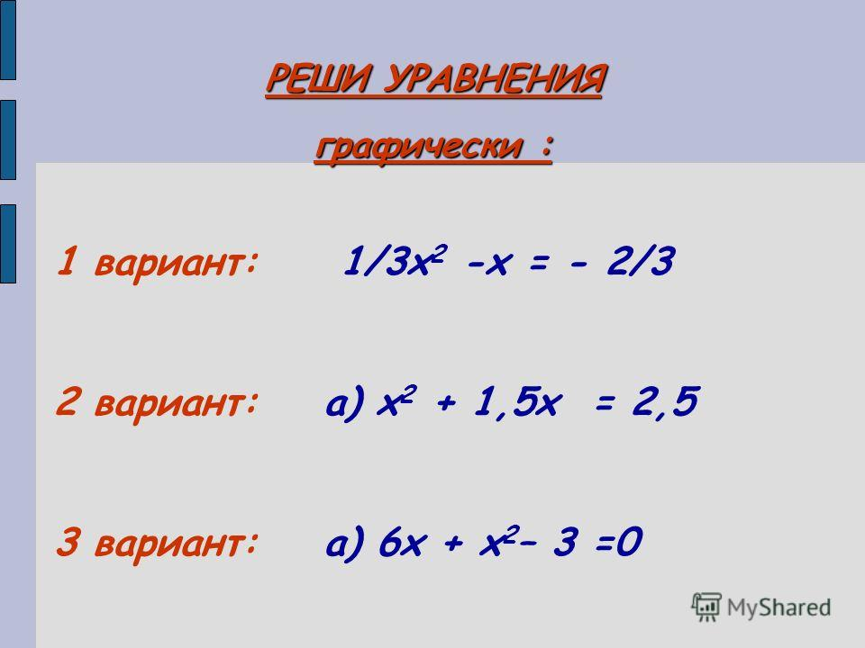 РЕШИ УРАВНЕНИЯ графически : 1 вариант: 1/3х 2 -х = - 2/3 2 вариант: а) х 2 + 1,5х = 2,5 3 вариант: а) 6х + х 2 – 3 =0
