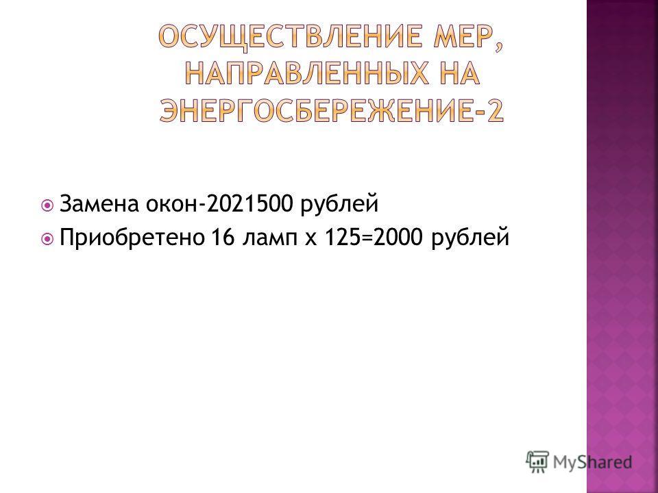 Замена окон-2021500 рублей Приобретено 16 ламп х 125=2000 рублей