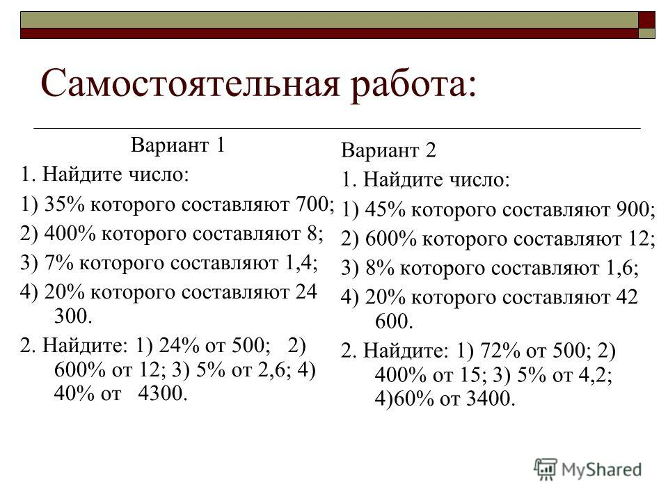 Самостоятельная работа: Вариант 1 1. Найдите число: 1) 35% которого составляют 700; 2) 400% которого составляют 8; 3) 7% которого составляют 1,4; 4) 20% которого составляют 24 300. 2. Найдите: 1) 24% от 500; 2) 600% от 12; 3) 5% от 2,6; 4) 40% от 430