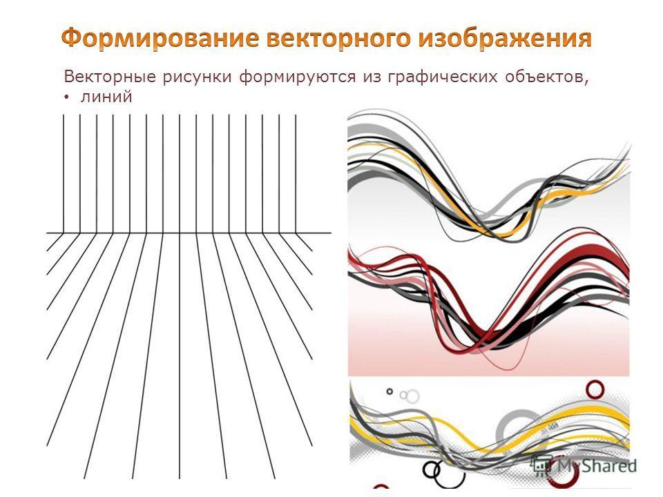 Векторные рисунки формируются из графических объектов, линий