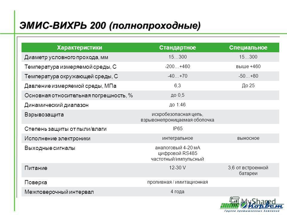 ЭМИС-ВИХРЬ 200 (полнопроходные) ХарактеристикиСтандартноеСпециальное Диаметр условного прохода, мм 15…300 Температура измеряемой среды, С -200…+460выше +460 Температура окружающей среды, С -40…+70-50…+80 Давление измеряемой среды, МПа 6,3До 25 Основн