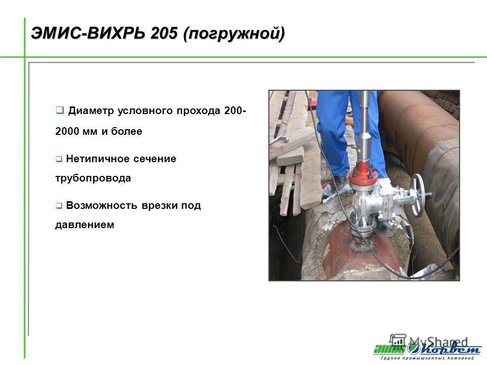 ЭМИС-ВИХРЬ 205 (погружной) Диаметр условного прохода 200- 2000 мм и более Нетипичное сечение трубопровода Возможность врезки под давлением