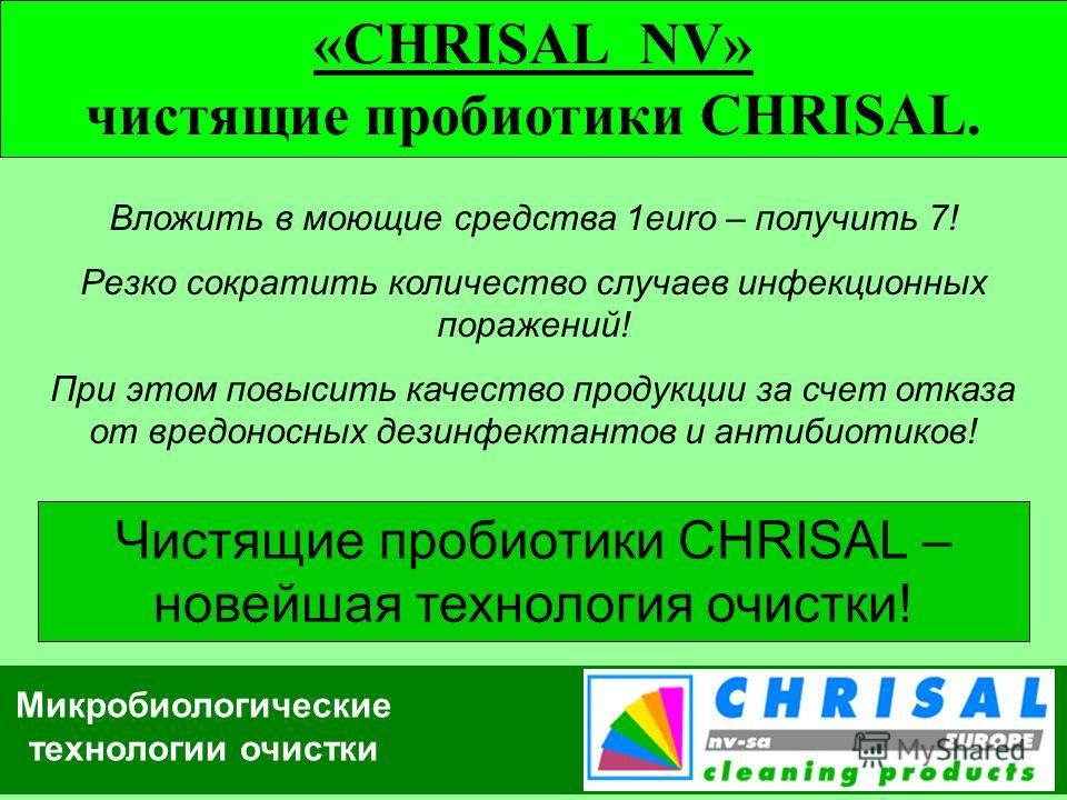 Микробиологические технологии очистки «CHRISAL NV» чистящие пробиотики CHRISAL. Вложить в моющие средства 1euro – получить 7! Резко сократить количество случаев инфекционных поражений! При этом повысить качество продукции за счет отказа от вредоносны