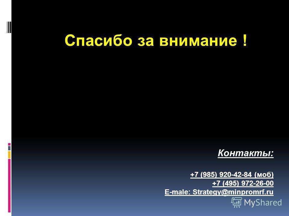 Спасибо за внимание ! Контакты: +7 (985) 920-42-84 (моб) +7 (495) 972-26-00 E-male: Strategy@minpromrf.ru