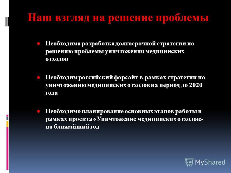 Необходима разработка долгосрочной стратегии по решению проблемы уничтожения медицинских отходов Необходим российский форсайт в рамках стратегии по уничтожению медицинских отходов на период до 2020 года Необходимо планирование основных этапов работы