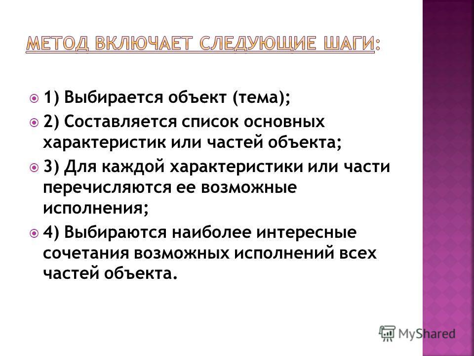 1) Выбирается объект (тема); 2) Составляется список основных характеристик или частей объекта; 3) Для каждой характеристики или части перечисляются ее возможные исполнения; 4) Выбираются наиболее интересные сочетания возможных исполнений всех частей