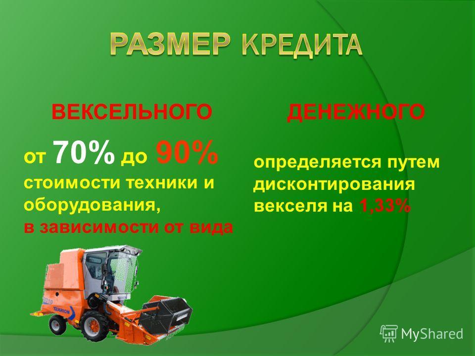 ВЕКСЕЛЬНОГО от 70% до 90% стоимости техники и оборудования, в зависимости от вида ДЕНЕЖНОГО определяется путем дисконтирования векселя на 1,33%