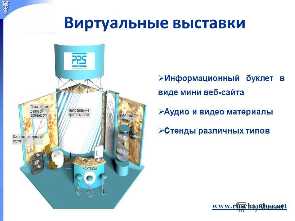 Информационный буклет в виде мини веб-сайта Аудио и видео материалы Стенды различных типов www.ruschamber.net Виртуальные выставки