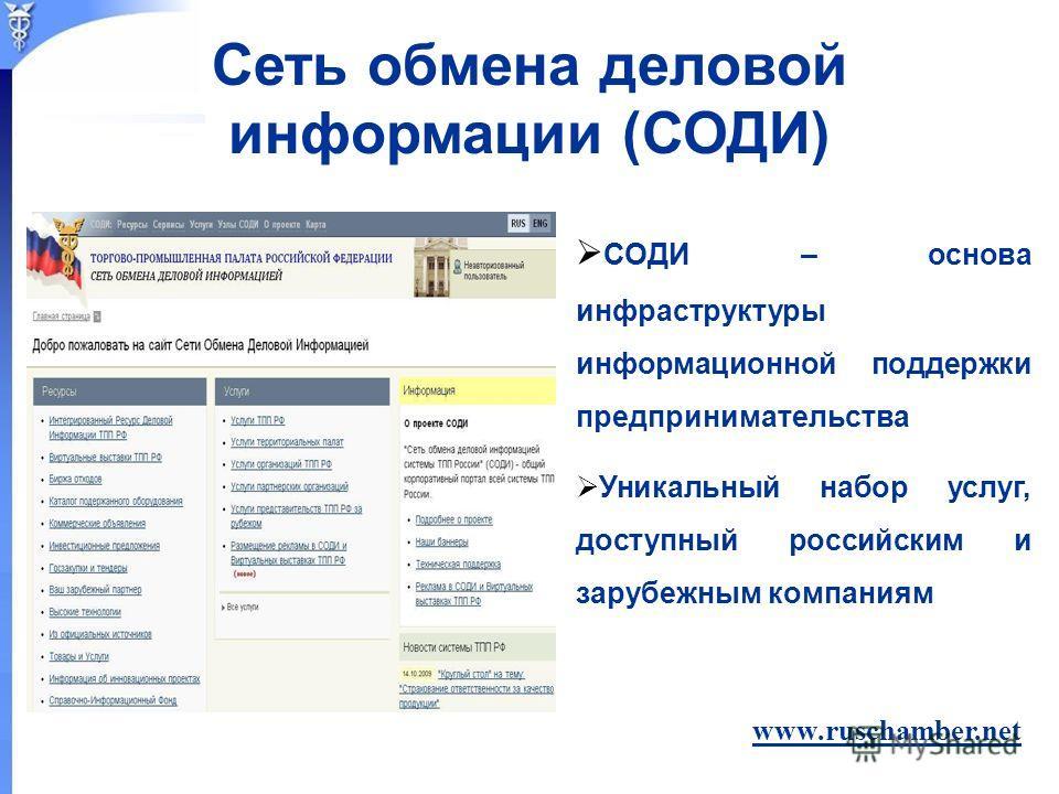 СОДИ – основа инфраструктуры информационной поддержки предпринимательства Уникальный набор услуг, доступный российским и зарубежным компаниям www.ruschamber.net Сеть обмена деловой информации (СОДИ)