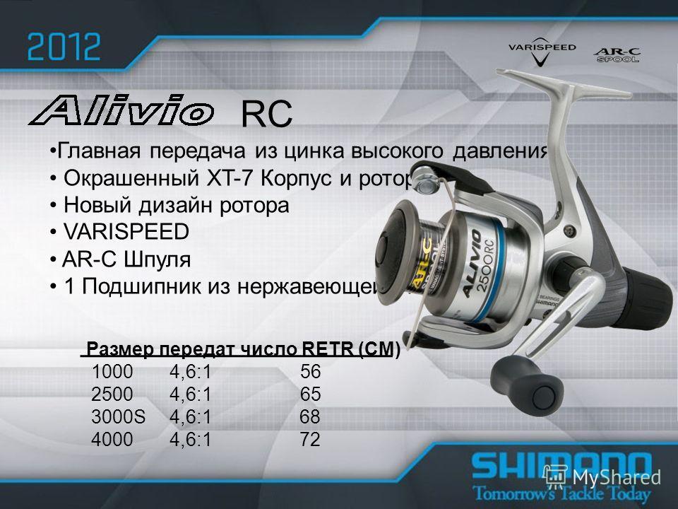 Главная передача из цинка высокого давления Окрашенный XT-7 Корпус и ротор Новый дизайн ротора VARISPEED AR-C Шпуля 1 Подшипник из нержавеющей стали RC Размер передат число RETR (CM) 1000 4,6:1 56 2500 4,6:1 65 3000S 4,6:1 68 4000 4,6:1 72