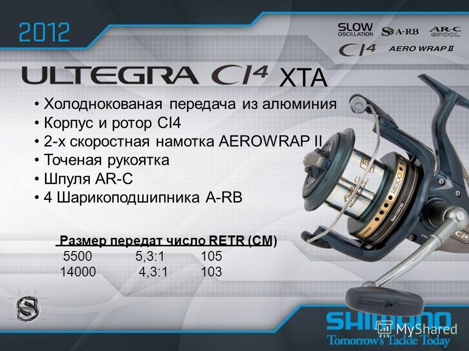 Холоднокованая передача из алюминия Корпус и ротор CI4 2-х скоростная намотка AEROWRAP II Точеная рукоятка Шпуля AR-C 4 Шарикоподшипника A-RB XTA Размер передат число RETR (CM) 5500 5,3:1 105 14000 4,3:1 103
