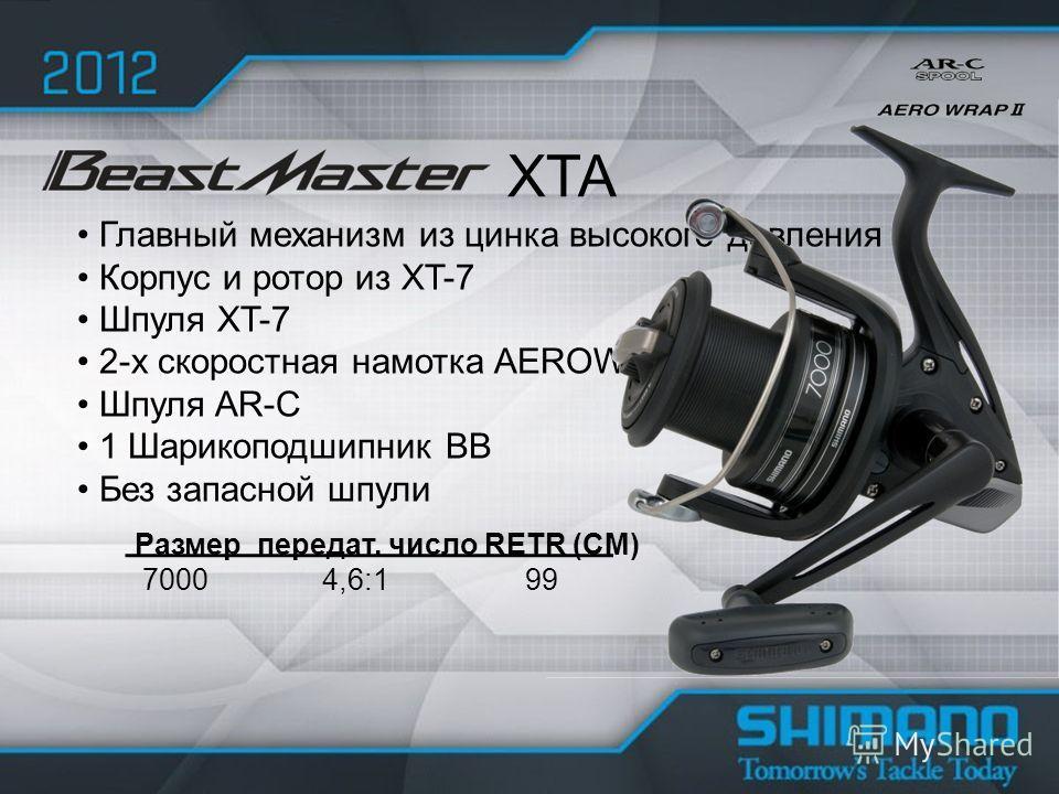 Главный механизм из цинка высокого давления Корпус и ротор из XT-7 Шпуля XT-7 2-х скоростная намотка AEROWRAP II Шпуля AR-C 1 Шарикоподшипник BB Без запасной шпули XTA Размер передат. число RETR (CM) 7000 4,6:1 99