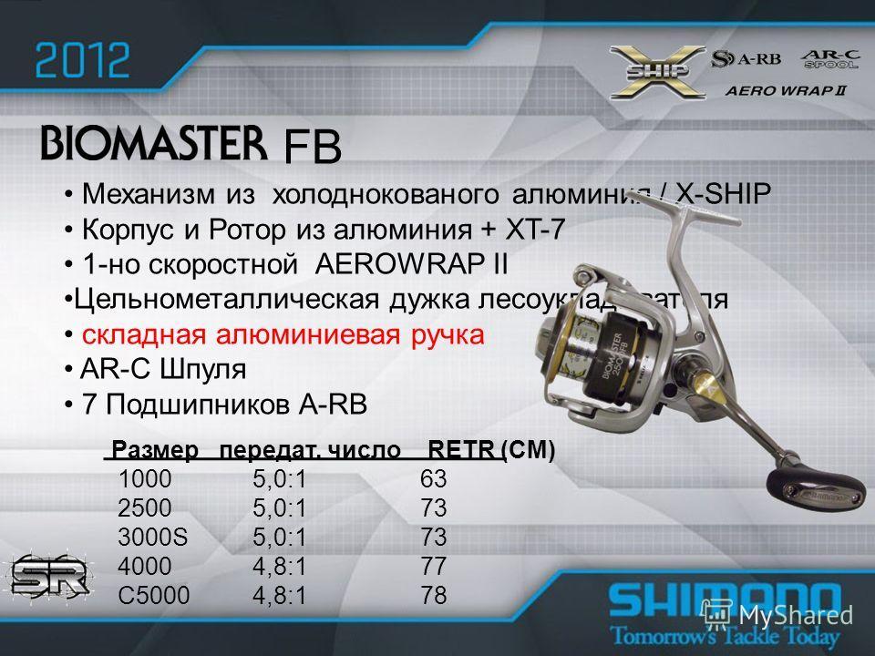 Механизм из холоднокованого алюминия / X-SHIP Корпус и Ротор из алюминия + XT-7 1-но скоростной AEROWRAP II Цельнометаллическая дужка лесоукладывателя складная алюминиевая ручка AR-C Шпуля 7 Подшипников A-RB FB Размер передат. число RETR (CM) 1000 5,