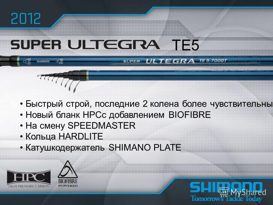 Быстрый строй, последние 2 колена более чувствительные Новый бланк HPCс добавлением BIOFIBRE На смену SPEEDMASTER Кольца HARDLITE Катушкодержатель SHIMANO PLATE TE5