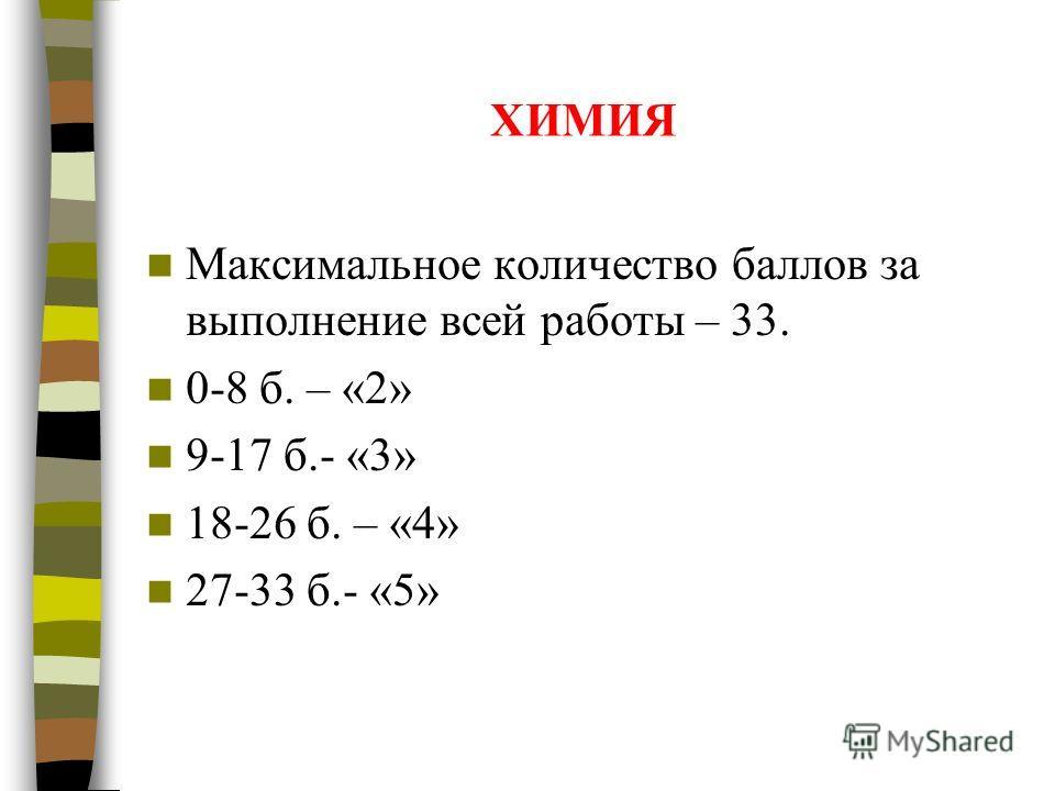 ХИМИЯ Максимальное количество баллов за выполнение всей работы – 33. 0-8 б. – «2» 9-17 б.- «3» 18-26 б. – «4» 27-33 б.- «5»