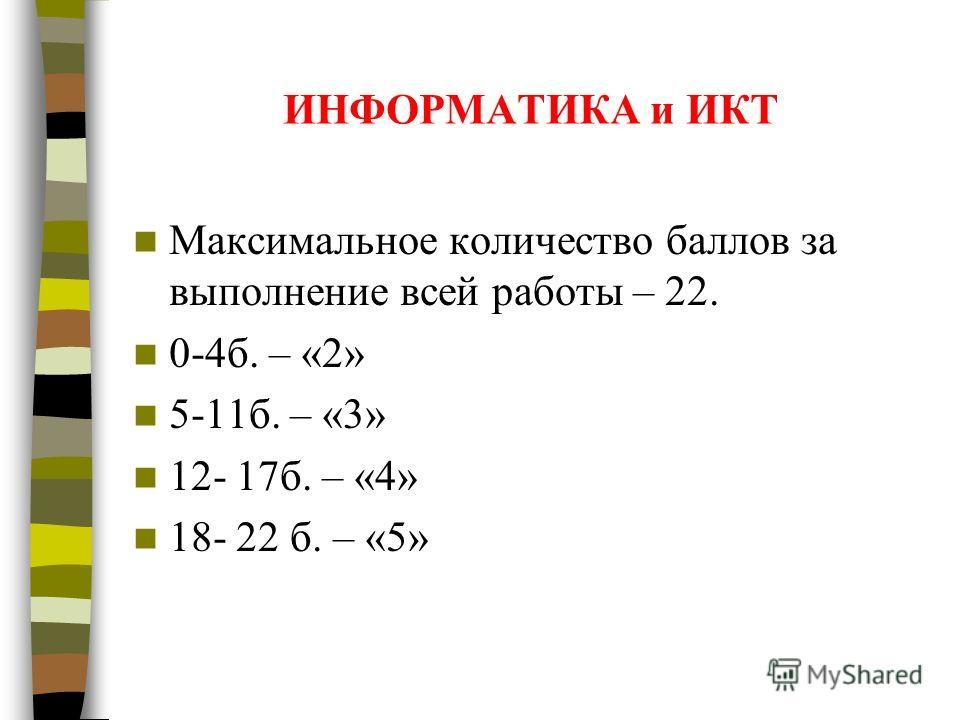 ИНФОРМАТИКА и ИКТ Максимальное количество баллов за выполнение всей работы – 22. 0-4б. – «2» 5-11б. – «3» 12- 17б. – «4» 18- 22 б. – «5»