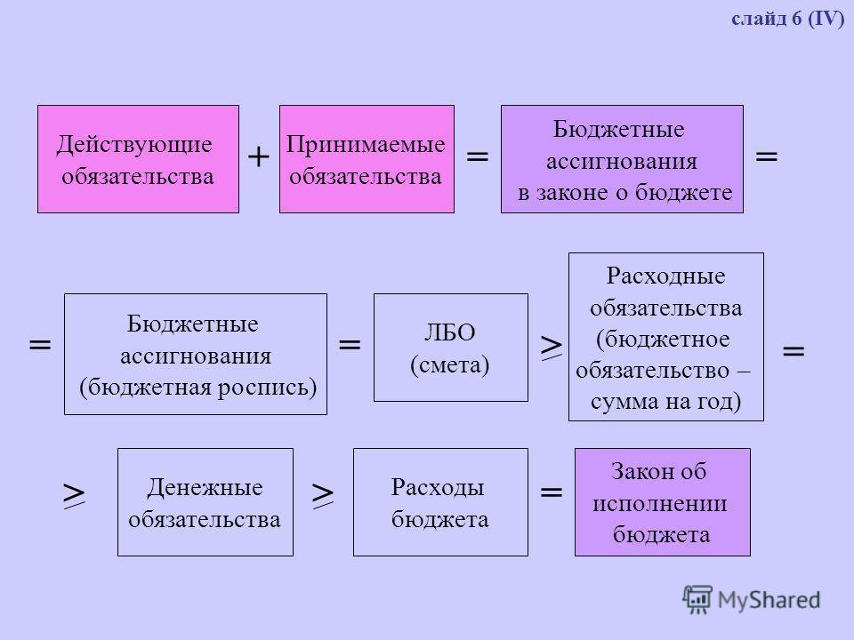 Действующие обязательства Принимаемые обязательства Бюджетные ассигнования в законе о бюджете +== Бюджетные ассигнования (бюджетная роспись) = ЛБО (смета) > Расходные обязательства (бюджетное обязательство – сумма на год) = Денежные обязательства > Р
