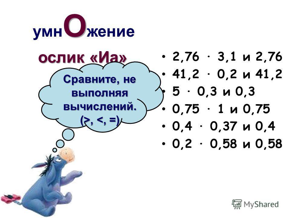 О умн О жение 2,76 · 3,1 и 2,76 41,2 · 0,2 и 41,2 5 · 0,3 и 0,3 0,75 · 1 и 0,75 0,4 · 0,37 и 0,4 0,2 · 0,58 и 0,58 ослик «Иа» Сравните, не выполняя вычислений. (>,,