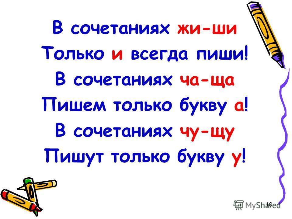 10 В сочетаниях жи-ши Только и всегда пиши! В сочетаниях ча-ща Пишем только букву а! В сочетаниях чу-щу Пишут только букву у!