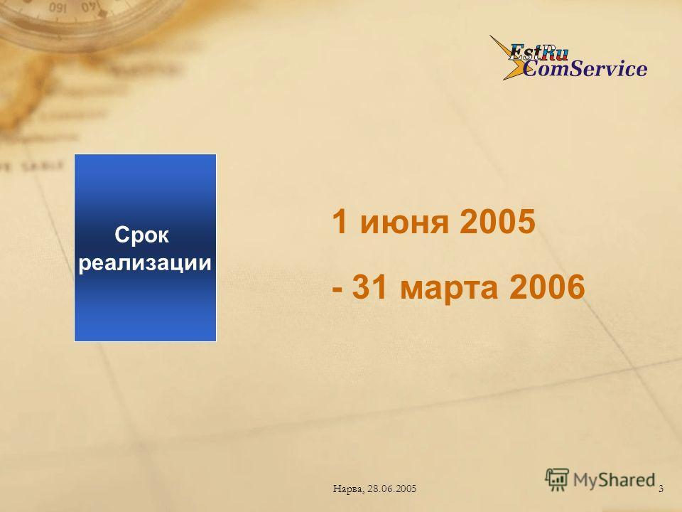 Нарва, 28.06.20053 1 июня 2005 - 31 марта 2006 Срок реализации