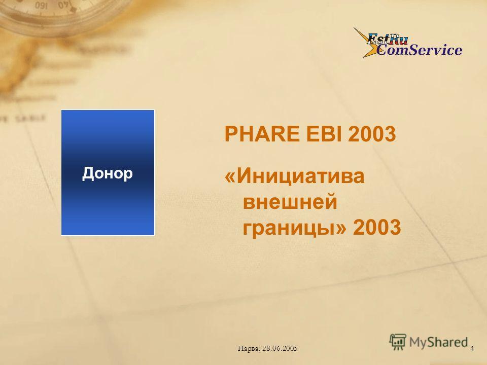 Нарва, 28.06.20054 PHARE EBI 2003 «Инициатива внешней границы» 2003 Донор