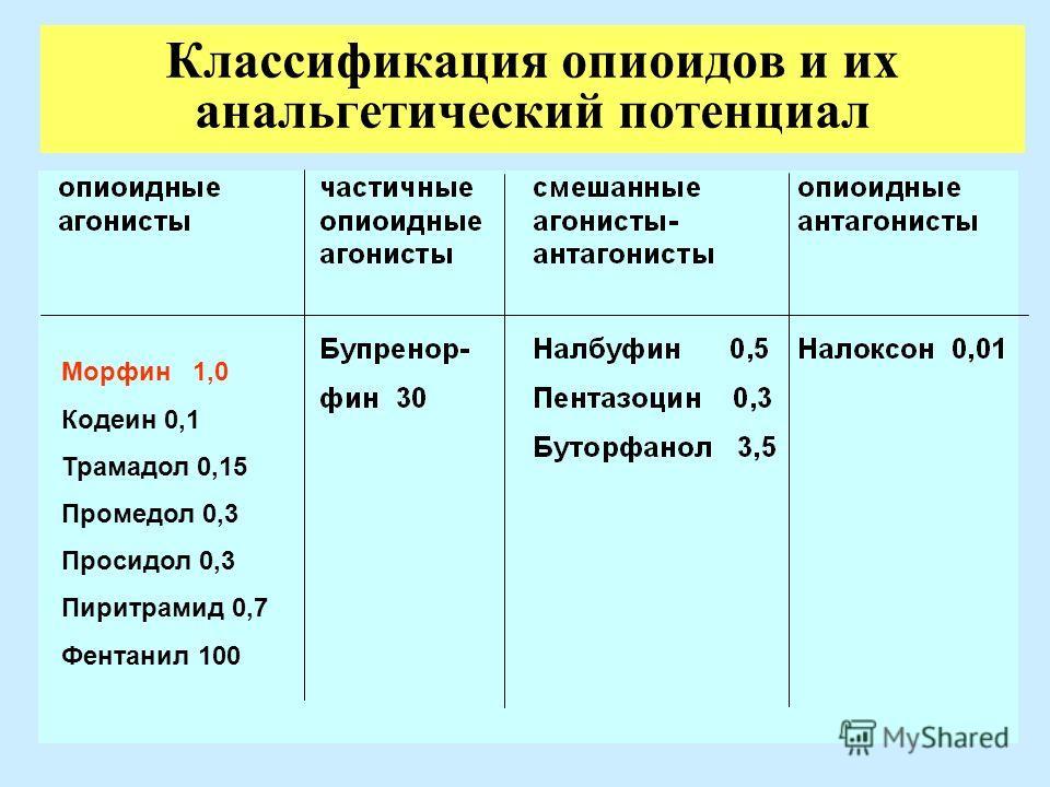 15 Классификация опиоидов и их анальгетический потенциал Морфин 1,0 Кодеин 0,1 Трамадол 0,15 Промедол 0,3 Просидол 0,3 Пиритрамид 0,7 Фентанил 100