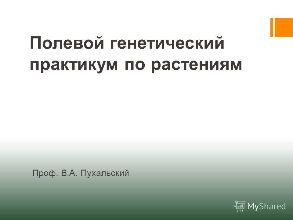 Полевой генетический практикум по растениям Проф. В.А. Пухальский