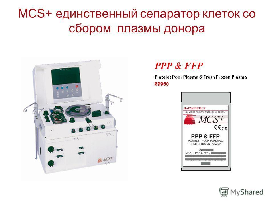 MCS+ единственный сепаратор клеток со сбором плазмы донора