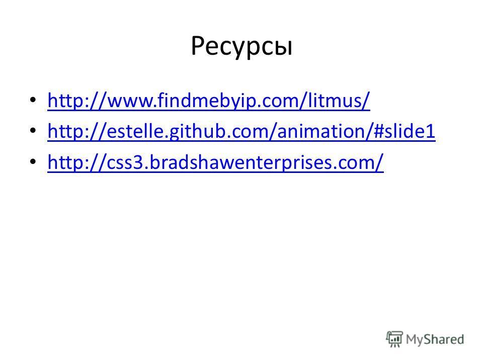 Ресурсы http://www.findmebyip.com/litmus/ http://estelle.github.com/animation/#slide1 http://css3.bradshawenterprises.com/