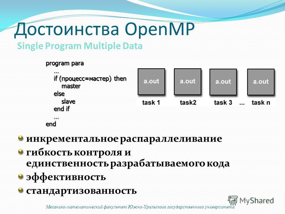 Достоинства OpenMP инкрементальное распараллеливание гибкость контроля и единственность разрабатываемого кода эффективность стандартизованность Single Program Multiple Data program para … if (процесс=мастер) then if (процесс=мастер) then master maste