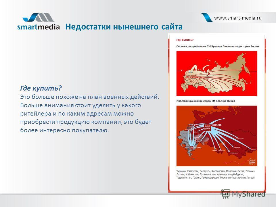 Недостатки нынешнего сайта www.smart-media.ru Где купить? Это больше похоже на план военных действий. Больше внимания стоит уделить у какого ритейлера и по каким адресам можно приобрести продукцию компании, это будет более интересно покупателю.