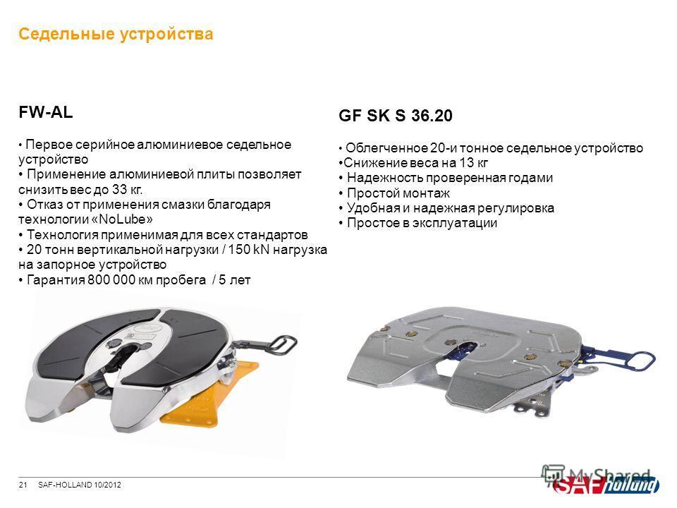 21 SAF-HOLLAND 10/2012 Седельные устройства FW-AL Первое серийное алюминиевое седельное устройство Применение алюминиевой плиты позволяет снизить вес до 33 кг. Отказ от применения смазки благодаря технологии «NoLube» Технология применимая для всех ст