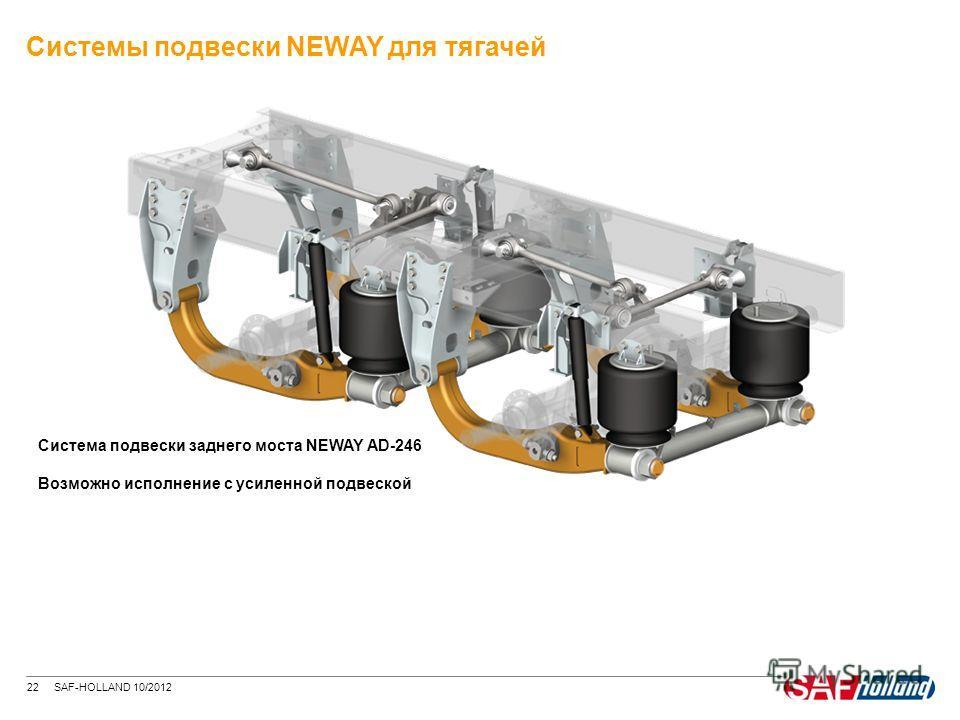22 SAF-HOLLAND 10/2012 Система подвески заднего моста NEWAY AD-246 Возможно исполнение с усиленной подвеской Системы подвески NEWAY для тягачей