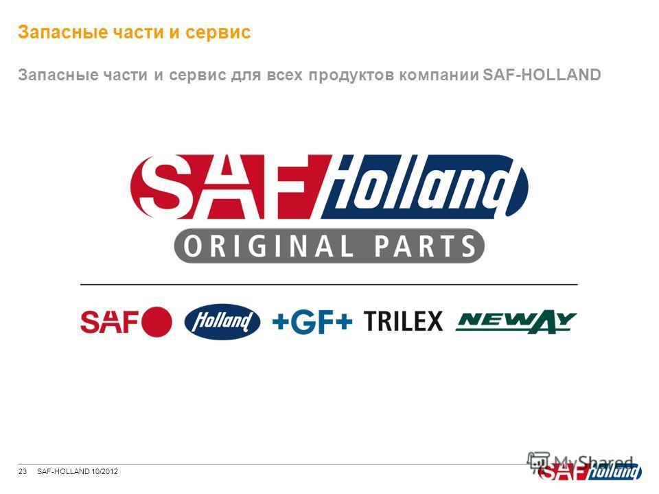 23 SAF-HOLLAND 10/2012 Запасные части и сервис для всех продуктов компании SAF-HOLLAND Запасные части и сервис