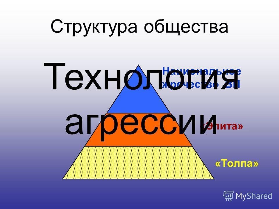 Структура общества Национальное жречество ВП «Толпа» «Элита» Технология агрессии