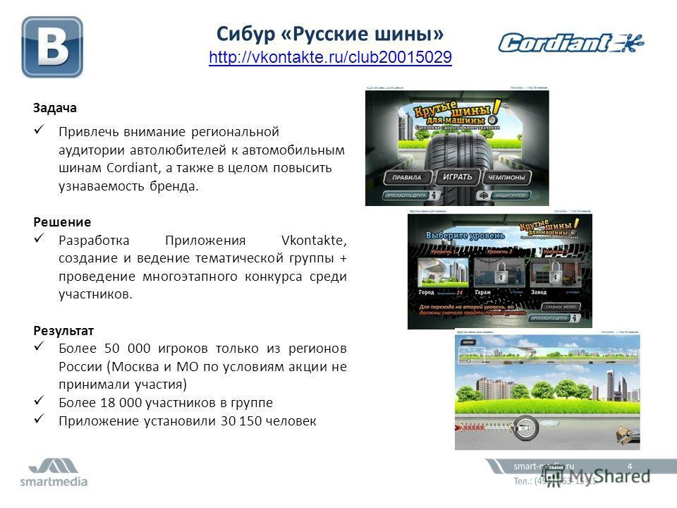 61,2 млн. Задача Привлечь внимание региональной аудитории автолюбителей к автомобильным шинам Cordiant, а также в целом повысить узнаваемость бренда. Решение Разработка Приложения Vkontakte, создание и ведение тематической группы + проведение многоэт