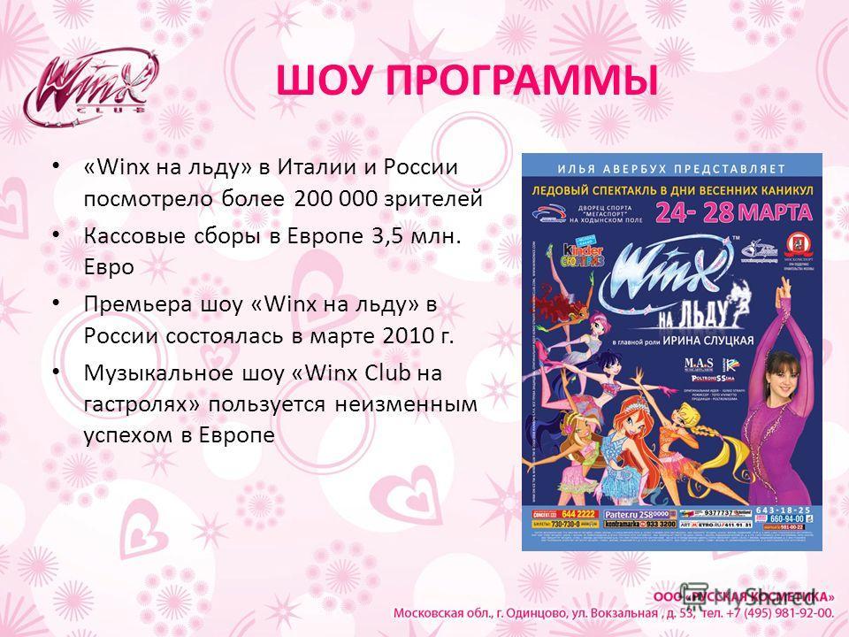 ШОУ ПРОГРАММЫ «Winx на льду» в Италии и России посмотрело более 200 000 зрителей Кассовые сборы в Европе 3,5 млн. Евро Премьера шоу «Winx на льду» в России состоялась в марте 2010 г. Музыкальное шоу «Winx Club на гастролях» пользуется неизменным успе