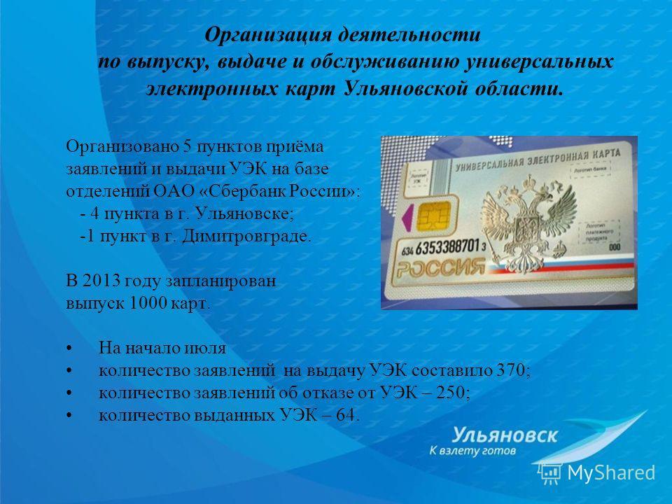 Организовано 5 пунктов приёма заявлений и выдачи УЭК на базе отделений ОАО «Сбербанк России»: - 4 пункта в г. Ульяновске; -1 пункт в г. Димитровграде. В 2013 году запланирован выпуск 1000 карт. На начало июля количество заявлений на выдачу УЭК состав
