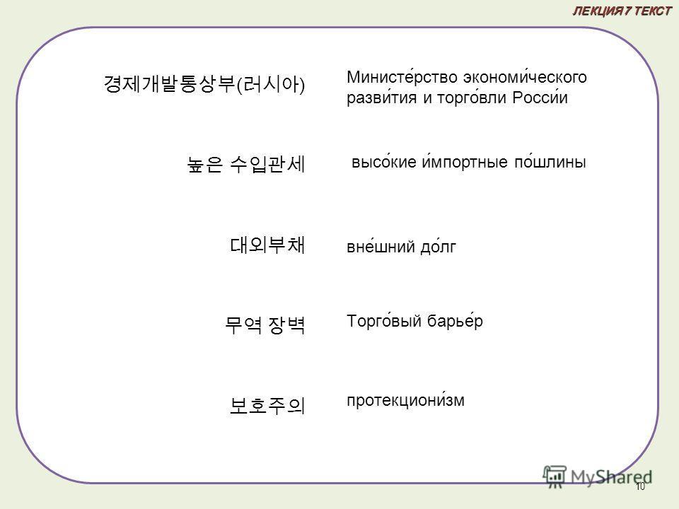 ЛЕКЦИЯ 7 ТЕКСТ ( ) 10 Министе́рство экономи́ческого разви́тия и торго́вли Росси́и высо́кие и́мпортные по́шлины вне́шний до́лг Торго́вый барье́р протекциони́зм